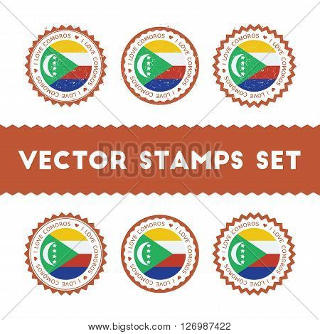 I Love Comoros Vector Stamps Set. Retro Patriotic Country Flag Badges. National Flags Vintage Round