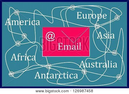 Email   The picture shows one of the types of electronic contact between people.