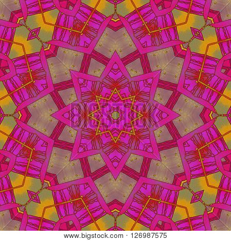 Abstract geometric seamless background. Ornate drawing, star pattern magenta and red violet shades with elements in gray, pale green an orange.
