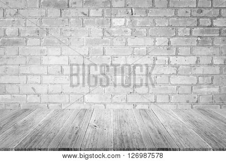 Red Brick Wall Texture Surface With Wood Terrace