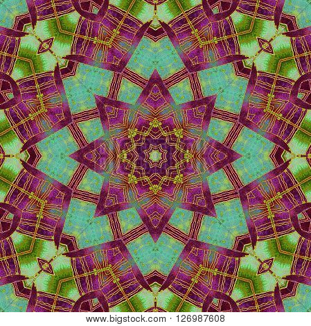 Abstract geometric seamless background. Ornate drawing, star pattern in purple shades with bright green wiggly lines and turquoise elements.