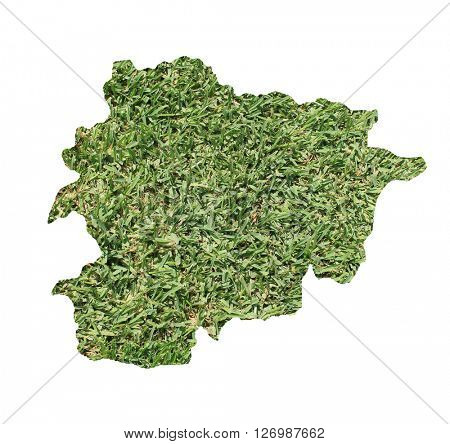 Map of Andorra filled with green grass, environmental and ecological concept.