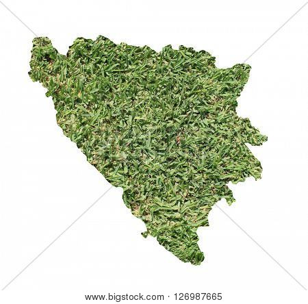 Map of Bosnia and Herzegovina filled with green grass, environmental and ecological concept.