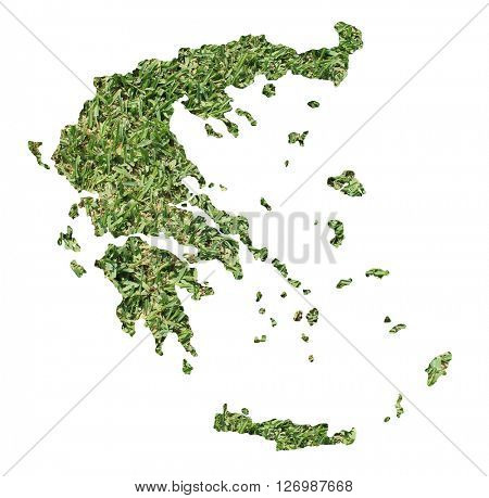Map of Greece filled with green grass, environmental and ecological concept.