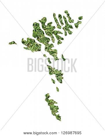 Map of the Faroe Islands filled with green grass, environmental and ecological concept.