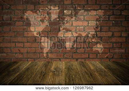 Red Brick Wall Texture Surface Vintage Style With Wood Terrace And World Map