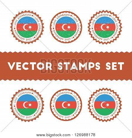 I Love Azerbaijan Vector Stamps Set. Retro Patriotic Country Flag Badges. National Flags Vintage Rou