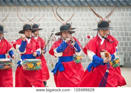 Seoul, South Korea - April 22, 2016: Seoul, South Korea April 22, 2016 Dressed In Traditional Costum