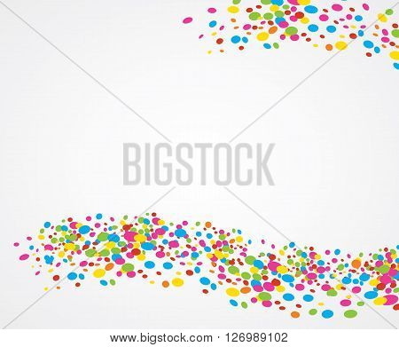 White background with ornaments of colored dots creating big waves