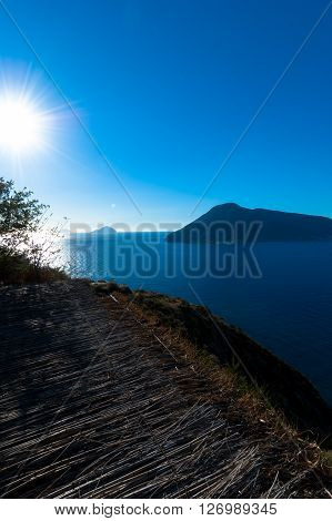 Seaview of aeolian islands from Lipari, Italy