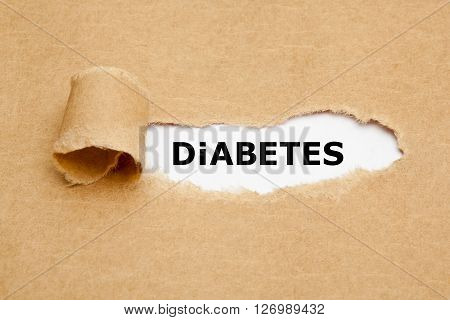 The word Diabetes appearing behind torn brown paper.