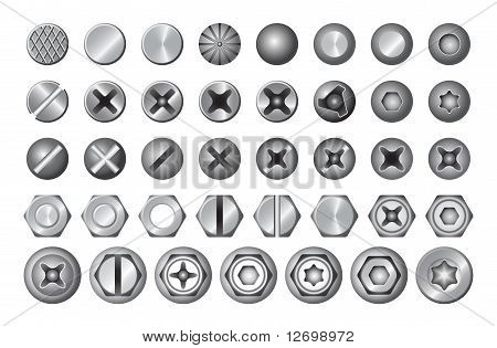 Set of different screws.