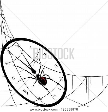 vector illustration of spider and clock entangled in spiderweb