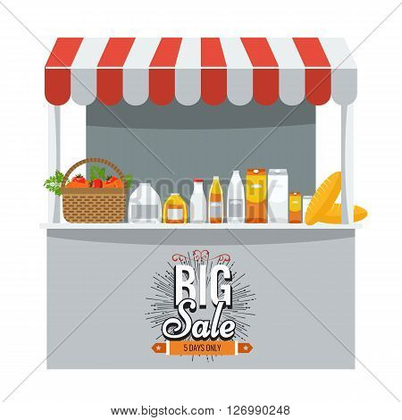 Shop, grocery and shopping concept. Store booth with striped awning, fruits, vegetables, drinks, bread and basket with full of organic food on the display shelf. Big sale title on it.
