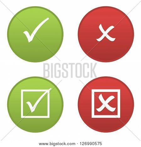 Set of right and wrong symbols icons isolated in white background