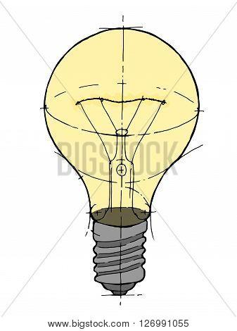 Lightbulb isolated icon. Hand drawn vector stock illustration