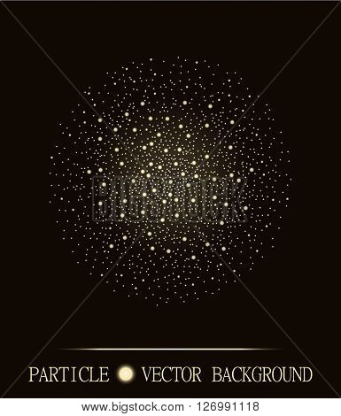 Abstract shpere of glowing light particles space brown background. Atomic explosion technology design. Style background for presentations cards scientific and jewelry design. Vector illustration