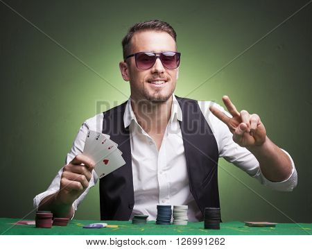 Winner poker player at the table