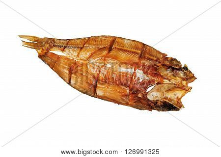 Smoked fish Asp. Close-up. Smoked fish bream. Isolated on white background.