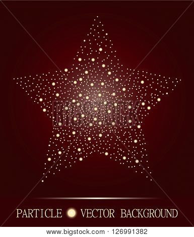 Abstract Star Of Glowing Light Particles On Burgundy Background. Atomic Technology Design. Style Bac