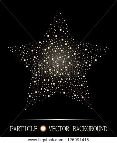 Abstract Star Of Glowing Light Particles On Black Background. Atomic Technology Design. Style Backgr