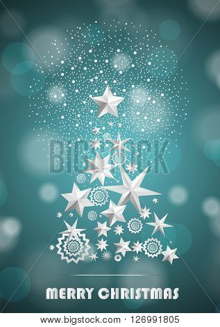 Christmas And New Year Abstract With Christmas Tree Made Of Stars And Snowflakes With Firework On Cy