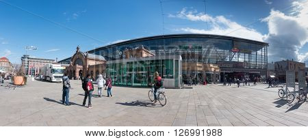 Erfurt, Germany - April 7 2016 : the area near the railway station