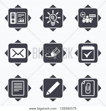 Icons with direction arrows. Office, documents and business icons. Accounting, strike and calendar signs. Mail, ideas and statistics symbols. Square buttons.