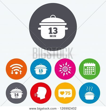 Wifi, like counter and calendar icons. Cooking pan icons. Boil 13, 14 and 15 minutes signs. Stew food symbol. Human talk, go to web.