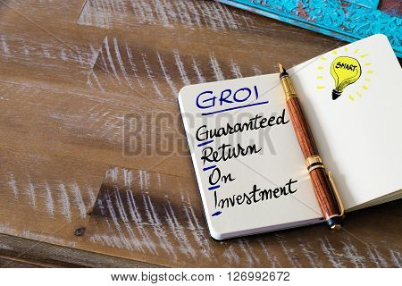 Business Acronym Groi Guaranteed Return On Investment