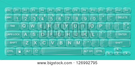 KEYBOARD PC MAC GLASS WHIT SHADOW TRASPARENT GREEN WATER