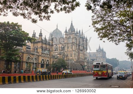 Mumbai, India - February 29, 2016: Chhatrapati Shivaji Terminus is a UNESCO World Heritage Site and historic railway station which serves as the headquarters of the Central Railways in Mumbai, India.