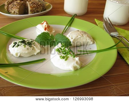 Fresh Labneh - Strained yogurt. Fresh cream cheese made from yogurt with herbs and spices