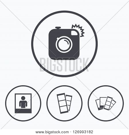 Hipster photo camera icon. Flash light symbol. Photo booth strips sign. Human portrait photo frame. Icons in circles.