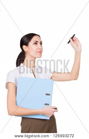Woman in formalwear holding documents and pen. Young female writing. isolated on white