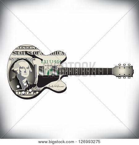 Dollar guitar art, ideal for music CD cover