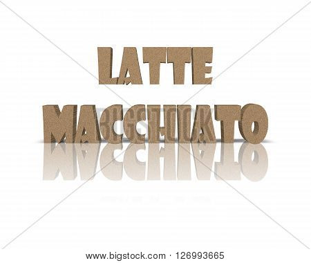 Latte Macchiato - 3D Word with Reflection !