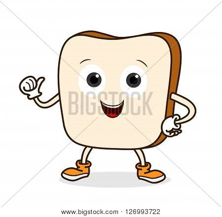 Bread Cartoon, a hand drawn vector illustration of a smiling bread with thumbs up.