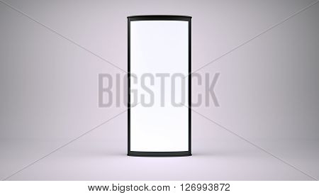 Banner with blank screen on grey background. 3d render