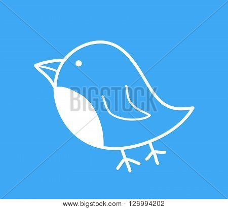Blue Bird Icon, a hand drawn vector illustration of a cute blue bird icon.