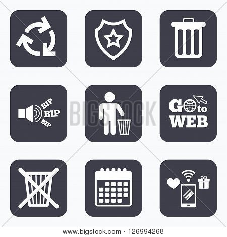 Mobile payments, wifi and calendar icons. Recycle bin icons. Reuse or reduce symbols. Human throw in trash can. Recycling signs. Go to web symbol.