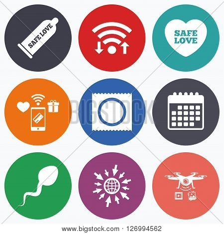 Wifi, mobile payments and drones icons. Safe sex love icons. Condom and package symbol. Sperm sign. Fertilization or insemination. Calendar symbol.