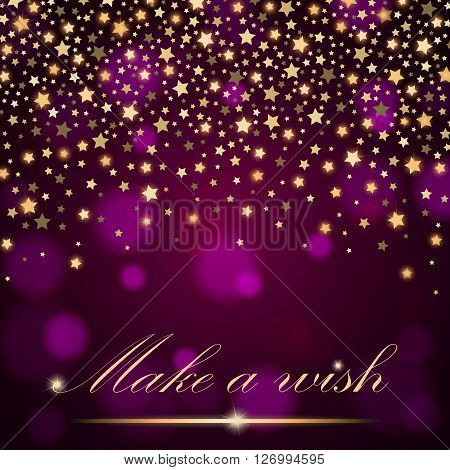 Vector Abstract Shining Falling Stars On Violet Ambient Blurred Background. Luxury Design. Vector Il