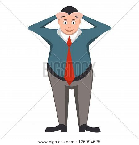 Businessman in a tie with the problem in the style of cartoon