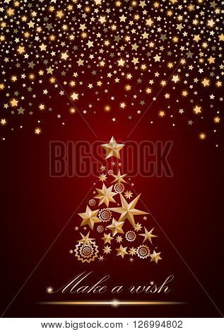 New Year And Christmas Card Design: Gold Christmas Tree Made Of Stars And Snowflakes With Abstract S