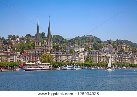 LUZERN - JUNE 8: View of historical center of the Luzern city on June 8, 2015 in Luzern, Switzerland.