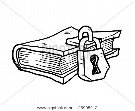 Locked Book Doodle, a hand drawn vector doodle illustration of a locked book.