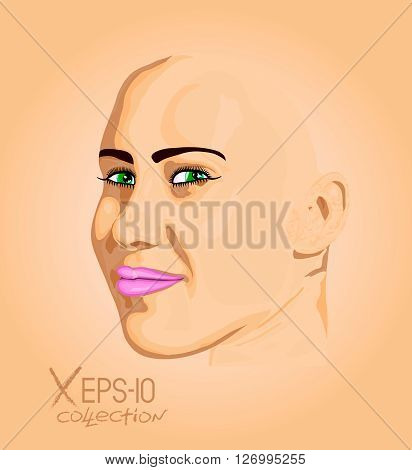 Abstract portrait of young woman with green eyes. Vector illustration