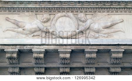 FLORENCE, ITALY - JUNE 05: Angels, Orsanmichele Church in Florence, Tuscany, Italy, on June 05, 2015