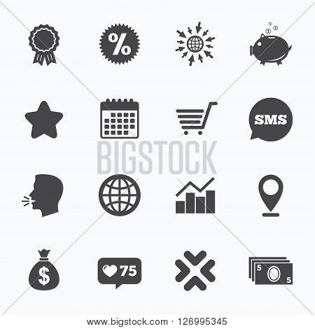 Calendar, go to web and like counter. Online shopping, e-commerce and business icons. Piggy bank, award and star signs. Cash money, discount and statistics symbols. Sms speech bubble, talk symbols.